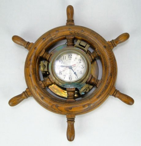 128: ANTIQUE SHIPS TIME QUARTZ PORTHOLE WHEEL CLOCK