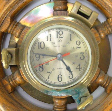 128: ANTIQUE SHIPS TIME QUARTZ PORTHOLE WHEEL CLOCK - 2