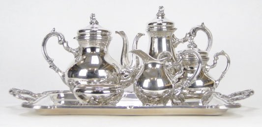 6A: LARGE STERLING SILVER TEA SET W TRAY 6 Pieces