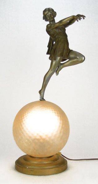 2: ART DECO FLAPPER GIRL DANCING LARGE TABLE LAMP