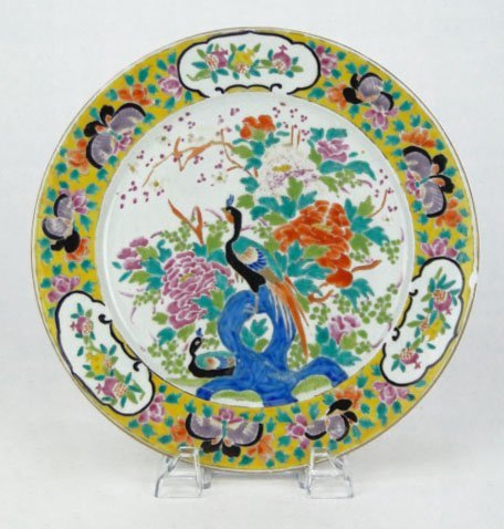 195: 19C CHINESE HAND PAINTED BIRD PARADISE PLATE