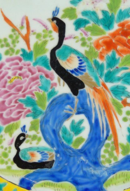 195: 19C CHINESE HAND PAINTED BIRD PARADISE PLATE - 2