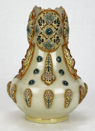 4: ANTIQUE ZSOLNAY RETICULATED & JEWELED LG VASE