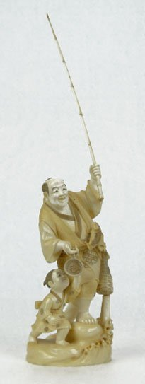 15: LARGE ORIENTAL IVORY FISHERMAN AND SON