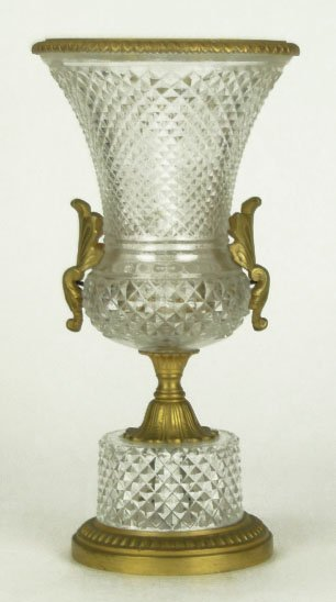 18: LOVELY VINTAGE BACCARAT CUT CRYSTAL & BRONZE VASE
