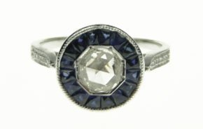 22: 18KT WHITE GOLD ROSE CUT DIAMOND & SAPPHIRE RING
