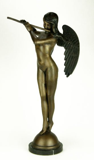 12: LARGE VINTAGE BRONZE  NUDE ANGEL PLAYING FLUTE