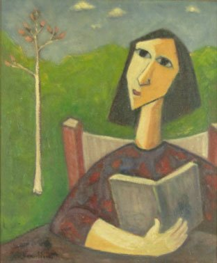 113: PAUL VANIER BEAULIEU OIL ON CANVAS STUDENT READING