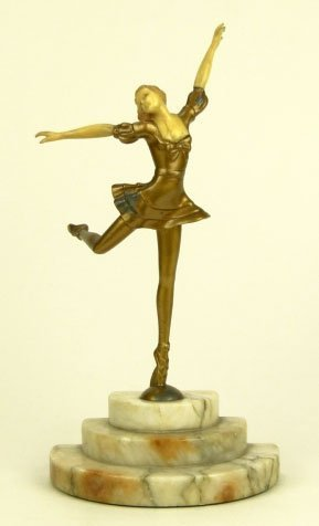 1: ART DECO BRONZE PATINA BALLET DANCER