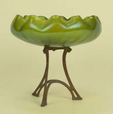 2: LOETZ ART NOUVEAU ART GLASS COMPOTE