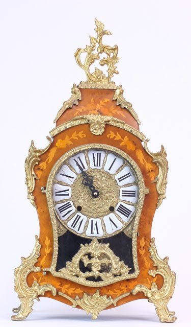 3: 20C ROCOCO STYLE WOOD MANTLE CLOCK