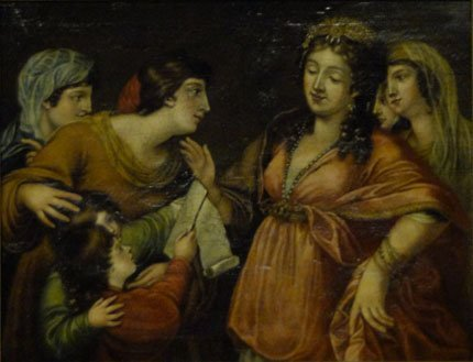 7: 18C OLD MASTER OIL ON CANVAS OF WOMEN