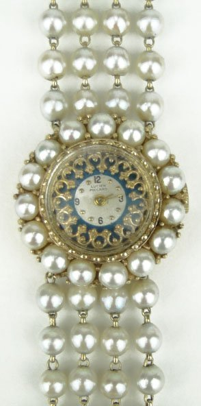 13: ANTIQUE 14KT YG LUCIAN PICARD PEARL & ENAMEL WATCHF