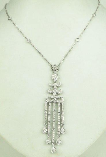 15A: SUPERB 18KT WHITE GOLD DIAMOND NECKLACE & PENDANT