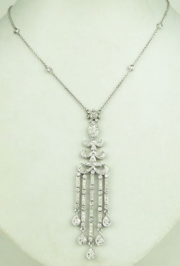 15A: SUPERB 18KT WHITE GOLD DIAMOND NECKLACE & PENDANT