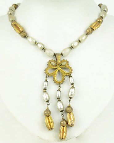 76: VINTAGE SIGNED MIRIAM HASKELL PEARL NECKLACE