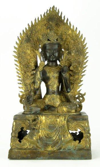 7: Lord Lakshmi Devi Brass Figural Asian Deity Sculptur