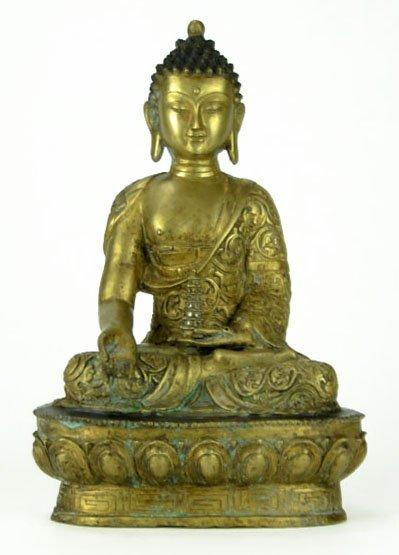 8: Big Brass Buddha Figurine with Black Hair