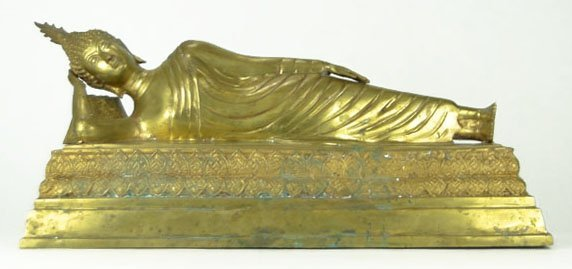 9: Reclining Brass Buddha Figurine with Headdress