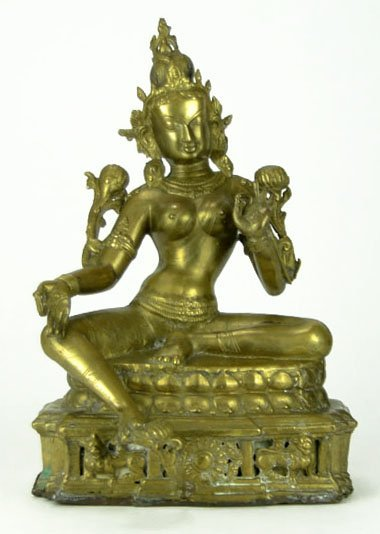 10: Lord Lakshmai Brass Figurine in Lotus Position