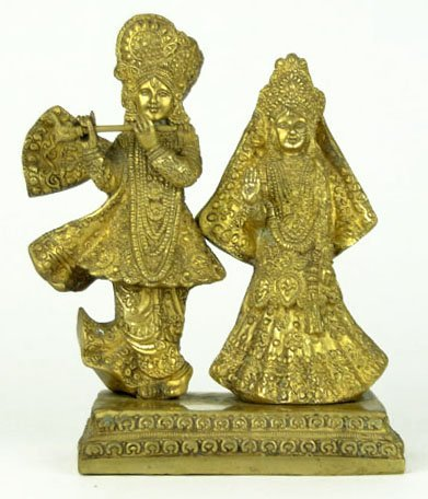 12: Lovely Brass Indonesian Wedding Couple Sculpture
