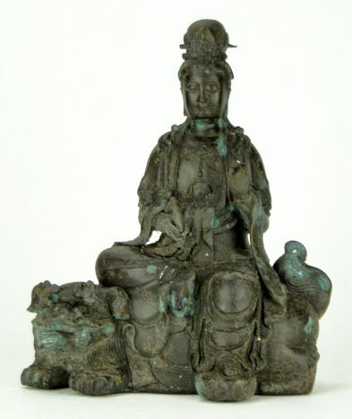 13: Antique Bronze Oriental Goddess Sitting on Foo Lion