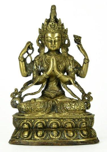 41: Goddess 4 Arm Brass Figurine 2 Hands Praying