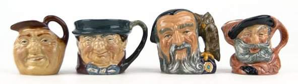 14 FOUR SMALL VINTAGE ROYAL DOULTON TOBY MUGS