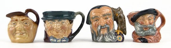 14: FOUR SMALL VINTAGE ROYAL DOULTON TOBY MUGS