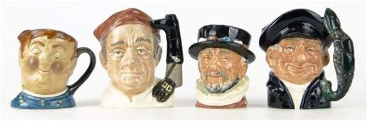 16 FOUR SMALL VINTAGE ROYAL DOULTON TOBY MUGS