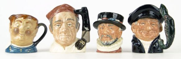 16: FOUR SMALL VINTAGE ROYAL DOULTON TOBY MUGS