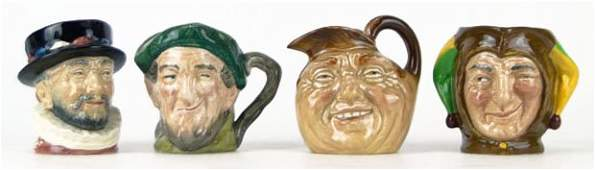 17 FOUR SMALL VINTAGE ROYAL DOULTON TOBY MUGS