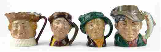 112 FOUR SMALL VINTAGE ROYAL DOULTON TOBY MUGS