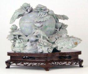 401: INTRICATE PURPLE AND GREEN JADE COVERED JAR