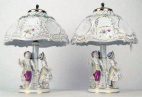 402: SPECTACULAR PAIR OF DRESDEN LAMPS WITH ORIGINAL SH