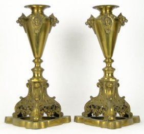 FABULOUS PAIR ANTIQUE DORE BRONZE VASES
