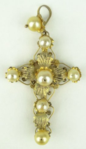 416: ANTIQUE 14KT YELLOW GOLD AND PEARL LARGE CROSS PEN