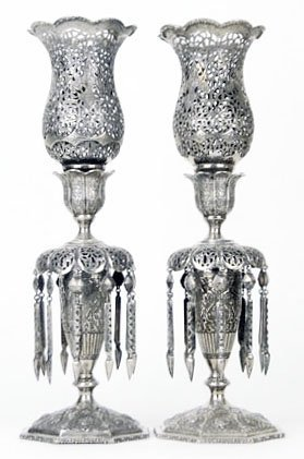 464: PAIR OF ANTIQUE 950 STERLING PERSIAN CANDLE STICKS