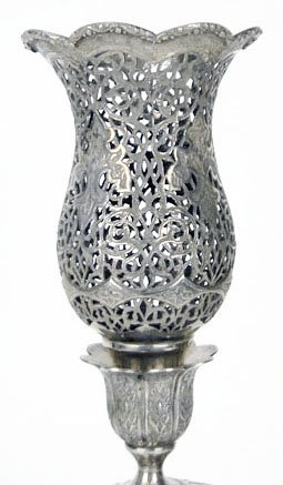 464: PAIR OF ANTIQUE 950 STERLING PERSIAN CANDLE STICKS - 2