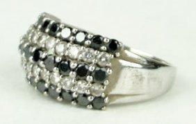 410A: ESTATE BLACK AND WHITE DIAMONDS 14KT WHITE GOLD