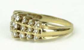 413A: 14KT YELLOW GOLD LADIES DIAMOND COCKTAIL RING