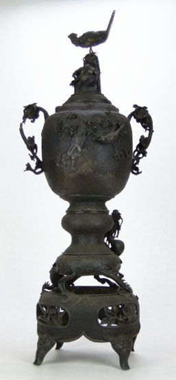 1: 18/19C CHINESE HUGE BRONZE COVERED ORNATE URN