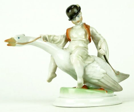 LARGE HEREND FIGURINE BOY RIDING GOOSE