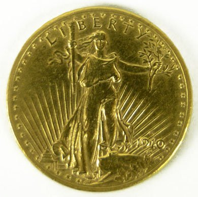 $20 US GOLD COIN DATED 1910