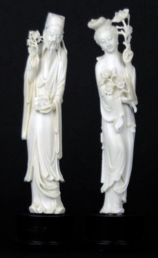 PAIR OF ANTIQUE LARGE CARVED IVORY FIGURINES