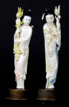 TWO ANTIQUE CHINESE CARVED IVORY QUAN-YIN