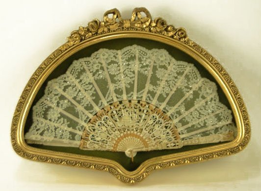 HAND CARVED IVORY AND LACE FAN IN SHADOW BOX