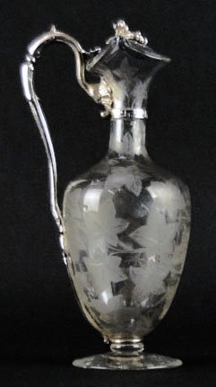 ETCHED WINE DECANTER WITH SILVER PLATE HANDLE AND COVER