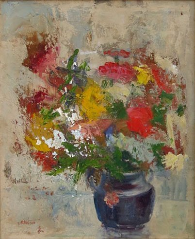 VIRGINIA THIBODEAU OIL ON CANVAS OF A FLORAL STILL LIFE
