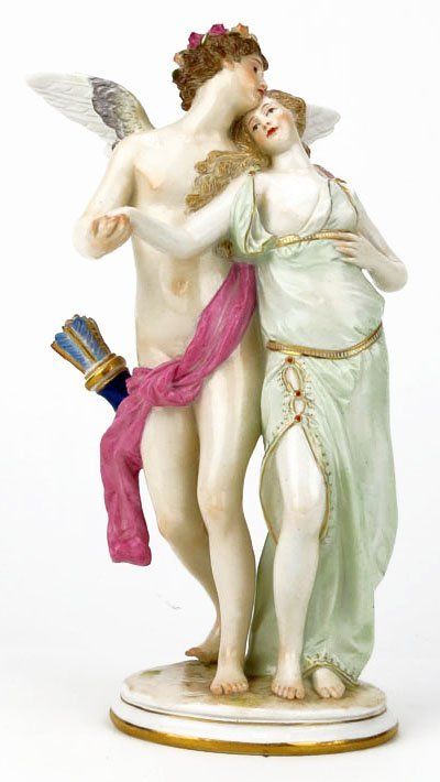19th Century Meissen Romantic Porcelain Figural Group